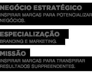 Negócio estratégico: Inspirar marcas para potencializar os negócios Especialização: branding e marketing. Missão: Inspirar marcas para transpirar resultados surpreendentes. Meta: Ser uma empresa reconhecida até 2016 , como uma referência em branding e estratégias de marketing.