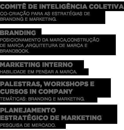 Comitê de Inteligência coletiva: Co-criação para as estratégias de branding e marketing. Branding: Posicionamento da marca,Construção de marca ,Arquitetura de marca e Brandbook. Planejamento estratégico de marketing Habilidade em pensar a marca: Marketing Interno. Pesquisa de mercado Planejamento estratégico de marketing